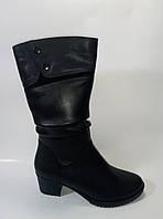 Кожаные женские зимние полусапожки на каблуке ТМ Starmania, фото 1