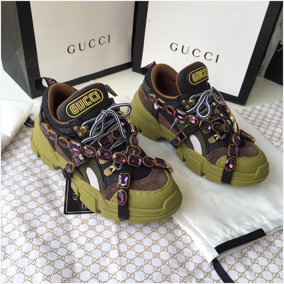 de6d4f94 Кроссовки Gucci Flashtrek sneaker with removable crystals изумрудные, 35-45  р-р -