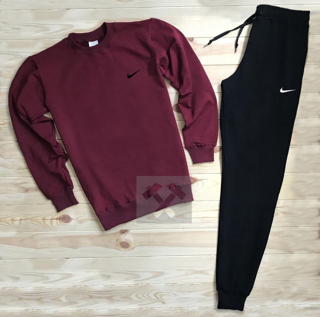 Спортивный костюм без молнии Nike бордово-черный топ реплика