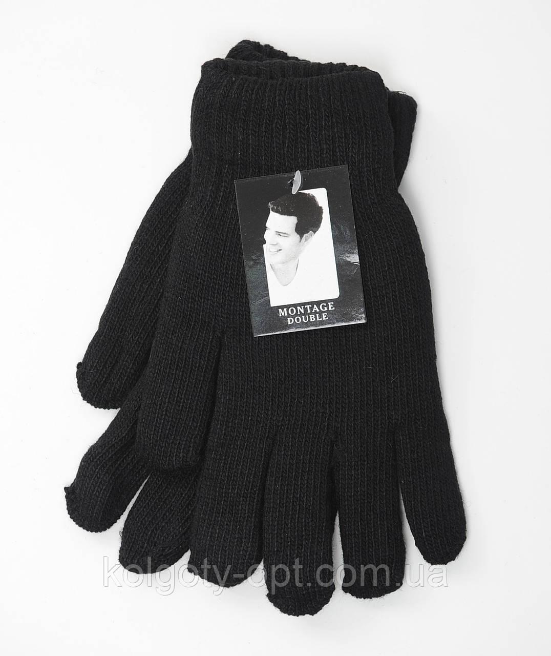 Теплые мужские перчатки двойные вязанные (продаются только от 12 пар)
