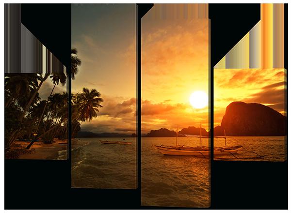 Модульная картина Закат на море ( Мальдивы, пальмы, лодки)