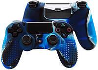 Защитный чехол на джойстик контроллер DualShock для Sony PlayStation 4 PS4 Slim PRO (Камуфляж Синий)