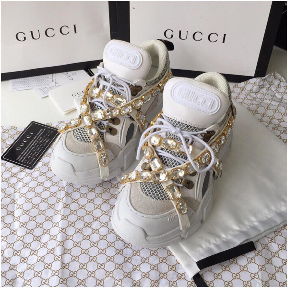 b7b3b4bd Кроссовки Гуччи Flashtrek sneaker with removable crystals белые, 35-45 р-р