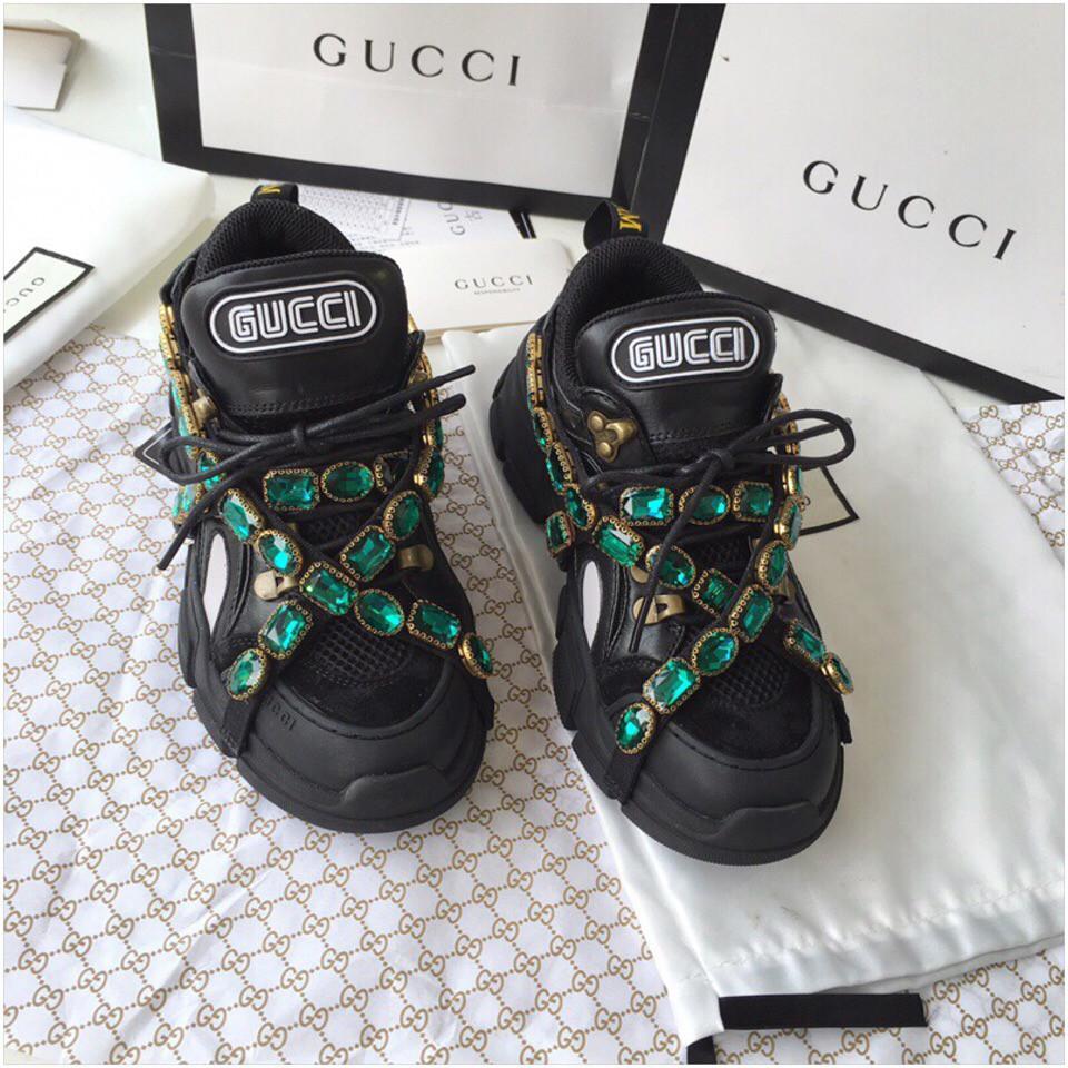 Кросівки Гуччі Flashtrek sneaker with removable crystals, чорні, 35-45 р-р