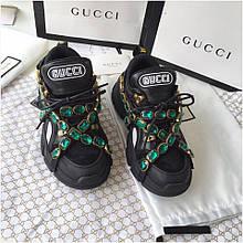 Кроссовки Гуччи Flashtrek sneaker with removable crystals, черные, 35-45 р-р