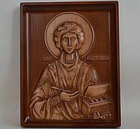 """Резная икона из дерева """"Святой Пантелеймон Целитель"""" (160х200х18), фото 1"""