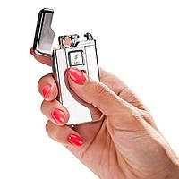 Электроимпульсная USB зажигалка Серебристая (3372)