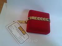 Gold / Голд- мужской браслет из вольфрама с магнитами и германием №41