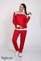 Теплый костюм для беременных Sportline, бордовый меланж + принт розы, фото 1