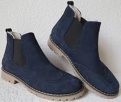 Женские зимние синие ботинки в стиле Timberland натуральный нубук