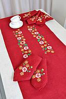 Набор льняная скатерть, дорожка на стол с вышивкой, 6 льняных салфеток