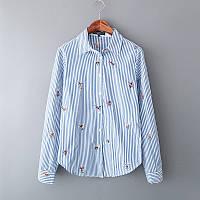 Тонкая котоновая рубашка в мелкую полосочку с вышитыми цветами... S M L