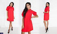 Женское платье (42; 44; 46; 48) артикул: 3074; платье miu miu c воротничком в камешках ; цвет: красный ; ткань: костюмная ; длина ~90 см