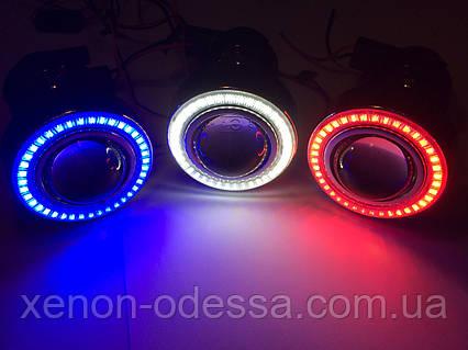 "Моно линзы ПТФ 1,8""  под ксенон или галоген + Ангельские Глазки LED, фото 2"