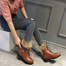 Ботинки зимние женские Louis Vuitton.Кожа/Цвет коричневый, фото 3
