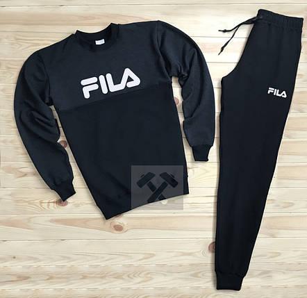 Спортивный костюм без молнии Fila черный топ реплика, фото 2