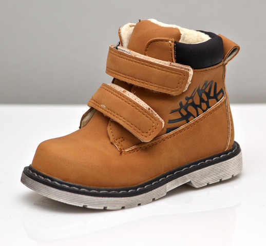 Детские демисезонные ботинки для мальчика коричневый 22р 14см