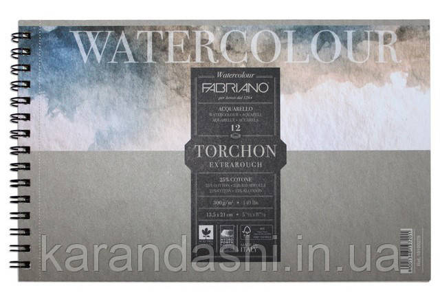 Альбом для акварели на спирали Watercolor A6 (13.5*21см), 300г/м2, 12л, торшон 25% хлопка, Fabriano 19100279