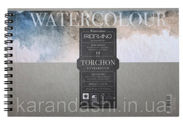 Альбом для акварели на спирали Watercolor A6 (13.5*21см), 300г/м2, 12л, торшон 25% хлопка, Fabriano 19100279, фото 2