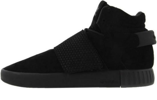 Зимние мужские кроссовки Adidas Tubular Invader Strap Triple Black (адидас  тубулар, внутри мех) 347333a1a02