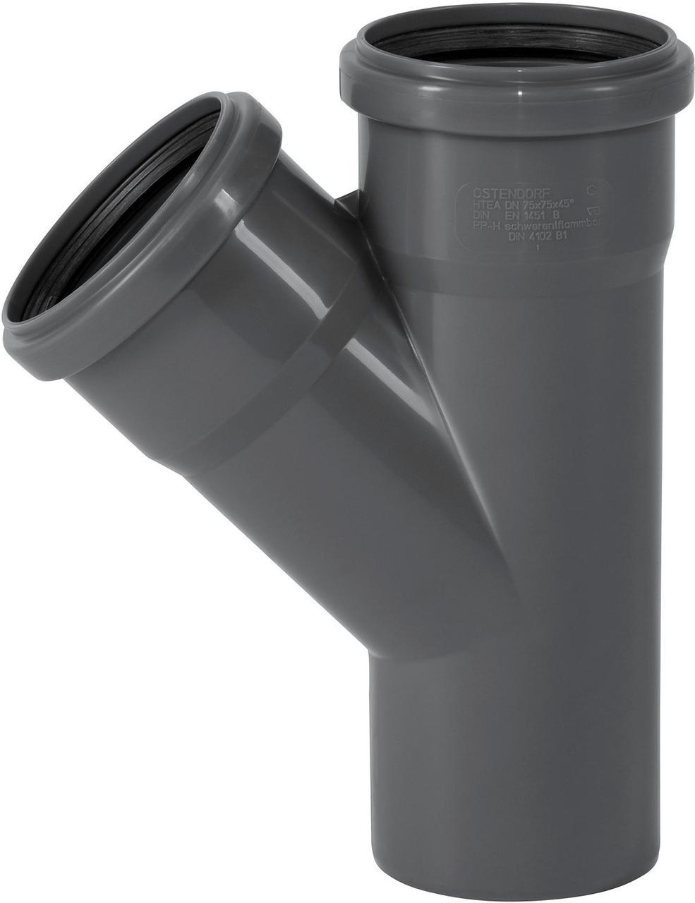 Тройник ПП внутренней канализации Ostendorf Safe 75/75х45°