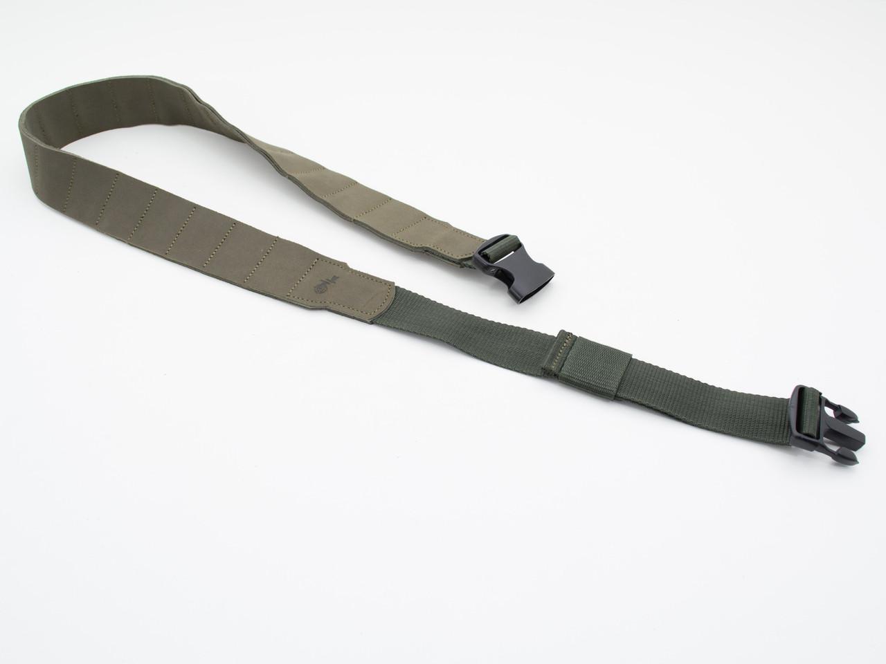Ремень - патронташ на пояс кожаный на 20 патронов открытый оливковый 10302/3