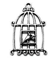 Подвеска «Клетка с птичкой»_серебристая