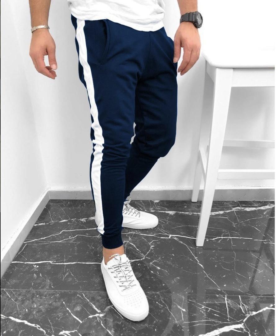 bf032227496e Мужские спортивные брюки штаны синие с белой полоской - Что почём  в Киеве