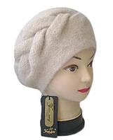 Берет Yuan Meng ( шапка-берет ) вязаный женский Nella шерсть с ангорой бежевого светлого цвета, фото 1