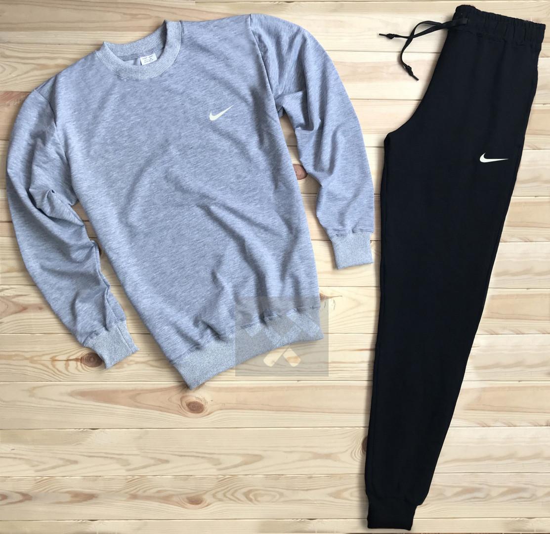 Спортивный костюм без молнии Nike серо-черный топ реплика