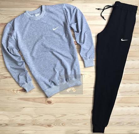Спортивный костюм без молнии Nike серо-черный топ реплика, фото 2