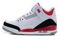 Баскетбольные кроссовки Nike Air Jordan 3 White-red, фото 1