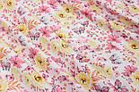 """Ткань хлопковая """"Цветочки среднего размера розовые и жёлтые с бабочками"""" (№ 1524а), фото 3"""