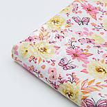 """Ткань хлопковая """"Цветочки среднего размера розовые и жёлтые с бабочками"""" (№ 1524а), фото 5"""