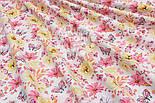 """Ткань хлопковая """"Цветочки среднего размера розовые и жёлтые с бабочками"""" (№ 1524а), фото 4"""