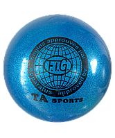 Мяч для художественной гимнастики, д-19см. Цвет синий, с блестками. TA Sport.