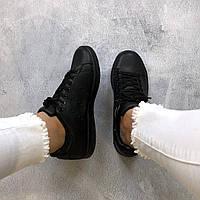 Кроссовки женские Adidas Stan Smith черные ( реплика ААА класса)