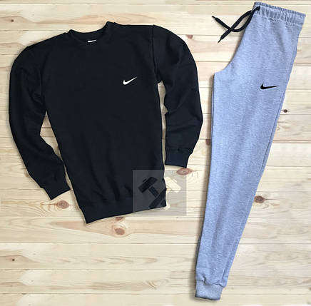 Спортивный костюм без молнии Nike черно-серый топ реплика, фото 2