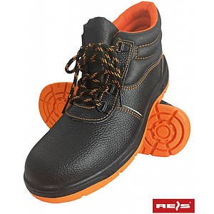 Ботинки рабочие BRREIS_BP BP со стальным подноском, покрыты кожей,черно-оранжевого цвета. REIS
