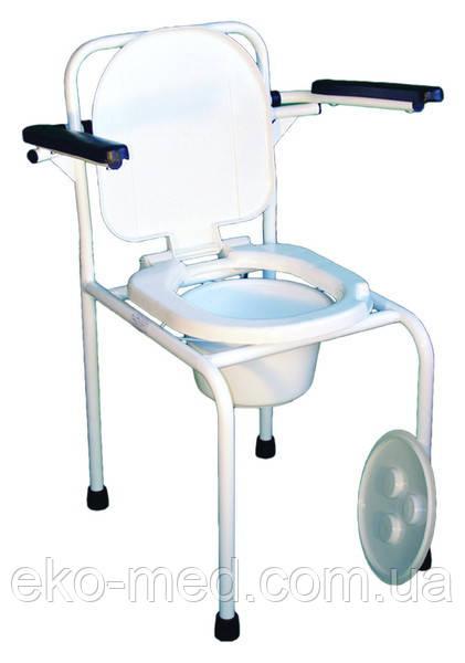 Стул-туалет стальной нерегулируемый с откидными поручнями НТ-04-003