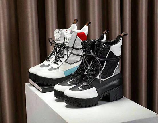Женские высокие кожаные осенние ботинки Louis Vuitton CheckPoint. 2 расцветки, фото 2