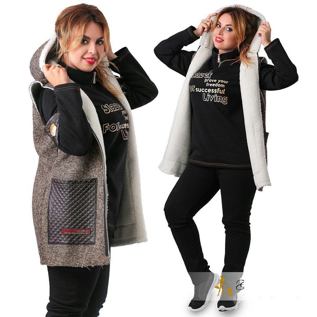 Утепленный спортивный костюм тройка для пышных дам трёхнитка. Разные цвета.  - Інтернет-магазин 0af4890c2ac