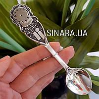 Детская серебряная ложка Часики - Ложка Часики на Крестины серебро