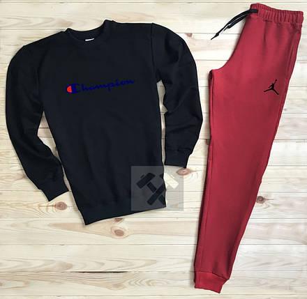 Спортивный костюм без молнии Champion черно-красный топ реплика, фото 2
