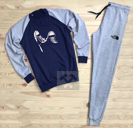 Спортивный костюм без молнии The North Face сине-серый топ реплика, фото 2