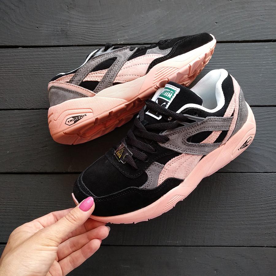 Женские кроссовки Puma Trinomic черные с розовым и серым - Компания