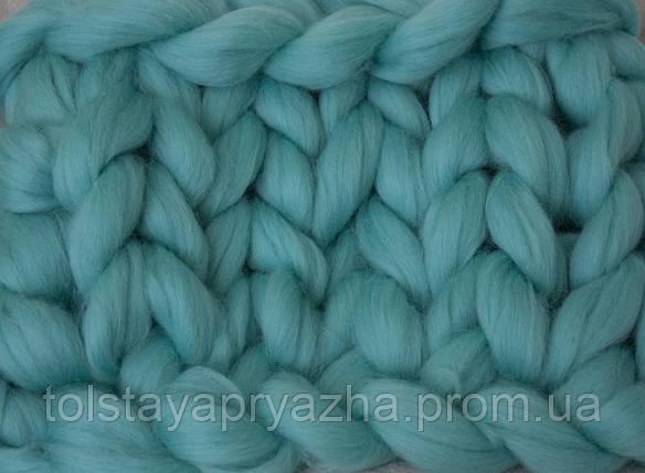 Шерсть для пледа (толстая пряжа) серия Кросс, цвет мята, фото 2