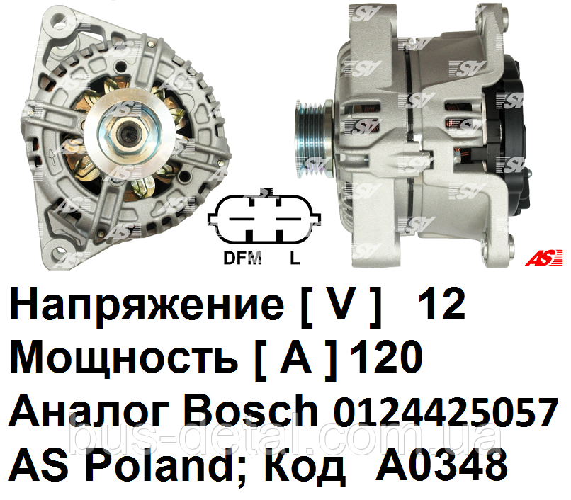 Генератор Opel Tigra 1.4 бензин (Опель Тигра). 120 A. AS-PL.  Bosch 0124425057