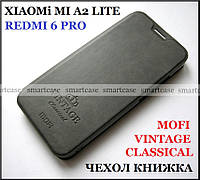 Оригинальный чехол книжка для Xiaomi Mi A2 Lite (Redmi 6 pro) в серой коже PU, Mofi Vintage Classical