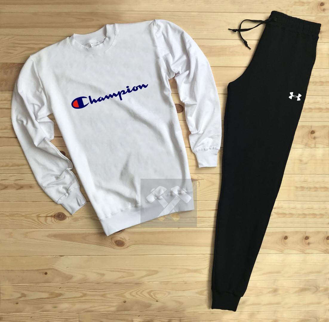Спортивный костюм без молнии Champion черно-белый топ реплика
